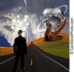 gebeeldhouwd kunstwerk, ideeën, landscape, man