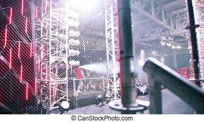 gebeurtenis, menigte, guitarist, toneelstuk te vechten, groot, drummer, zaal
