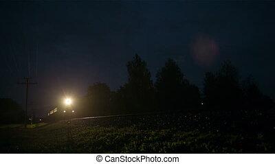 gebied, vasten, trein, door, nacht, landelijk, voorbijgaand