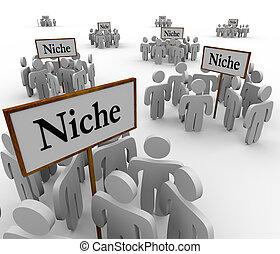 gebieden, niche, ongeveer, mensen, velen, groepen, tekens & borden, clustered