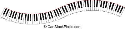 gebogen, pianotoetsenbord