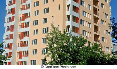 gebouw, blauwe , flat, bodem, bovenzijde, hemel, achtergrond, nieuw