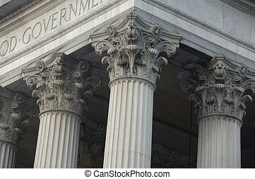 gebouw, corinthian pilaren, regering