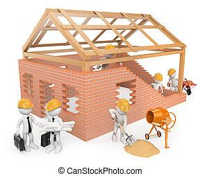 gebouw, huizenbouw, 3d, witte , werkmannen , mensen.