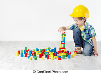gebouw, jongen, concept, city., hard, bouwsector, ontwikkeling, blocks:, hoedje, spelend