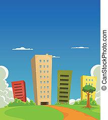 gebouw, kantoor, flats