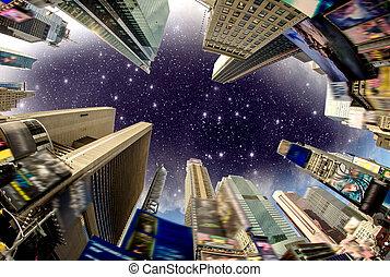gebouw, plein, straat, advertenties, usa, hemel, -, tijden, dramatisch, verwijderde, bekeken