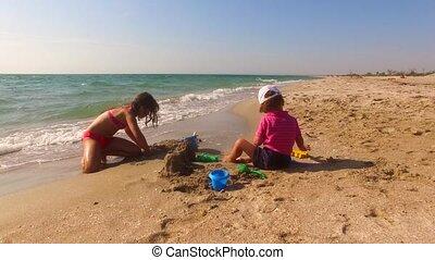 gebouw, twee, zandkasteel, strand, kinderen