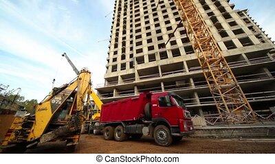 gebouw, woning, ladingen, vrachtwagen, levend, plek, bulldozer