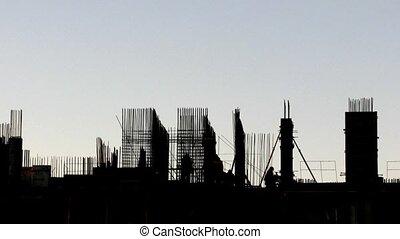 gebouw, wrakkigheid, in aanbouw, tijd, evening.