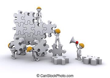gebouw, zakelijk, ontwikkelen, concept., werken, puzzle., team