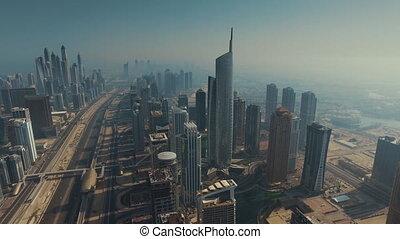 gebouwen, footage), (drone, high-rise, dubai, aanzicht