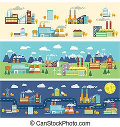 gebouwen, industrie, horizontale banners
