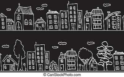 gebouwen, model, -, seamless, illustratie, huisen