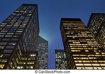 gebouwen, moderne, kantoor, nacht