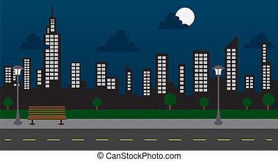 gebouwen, nacht, park, straat