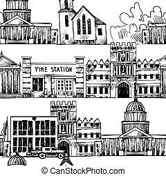 gebouwen, seamless, achtergrond, regering