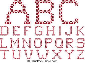 gebreid, vector, set, alfabet