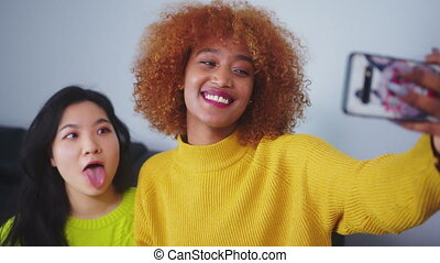 gebruik, boeiend, vrouw, beste vrienden, black , afrikaan, aziaat, gezichten, smartphone., gekke , selfie, amerikaan