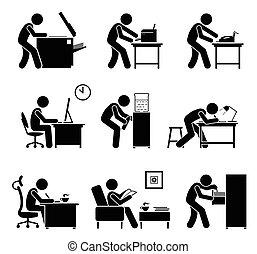 gebruik, kantoor, workplace., equipments, werknemers