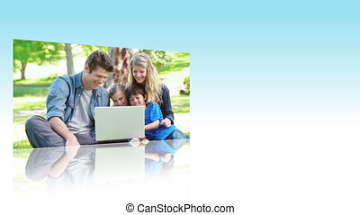 gebruik, laptops, families, park