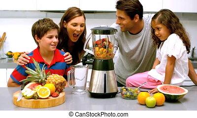gebruik, samen, mixer, gezin