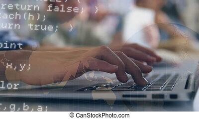 gebruik, vrouw, draagbare computer