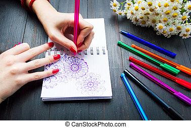 gedaantes, bloem, vrouwlijk, aantekenboekje, tekening