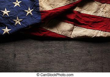gedenkteken, oud, vlag, versleten, dag, amerikaan, 4 juli, of