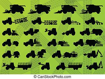 gedetailleerd, combineert, industriebedrijven, vrachtwagens, maaimachines, tractoren, illustratie, uitrusting, silhouettes, vector, excavators, verzameling, achtergrond, landbouw, landbouw