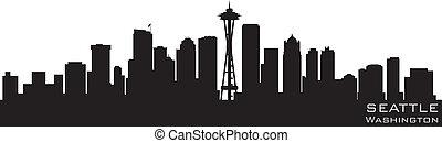 gedetailleerd, silhouette, washington, seattle, vector, skyline.