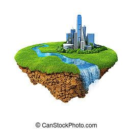 gedetailleerd, wei, concept, succes, isolated., eiland, waterfall., moderne, base., zich verbeelden, lucht, rivier, lifestyle., geluk, harmonie, cityscape, idyllisch, grond