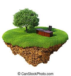 gedetailleerd, weinig; niet zo(veel), concept, succes, kantoor, eiland, planet., wei, base., zakelijk, innovatie, boompje, lucht., land, /, tafel, stoel, stuk, boete, refresh., grond