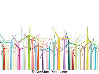 gedetailleerd, windmolen, ecologie, kleurrijke, elektriciteit, illustratie, silhouettes, vector, generators, verzameling, achtergrond, wind
