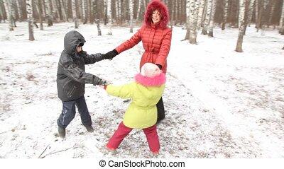 gedraaide, kinderen, wood., moeder