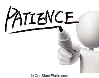 geduld, man, 3d, woord, geschreven