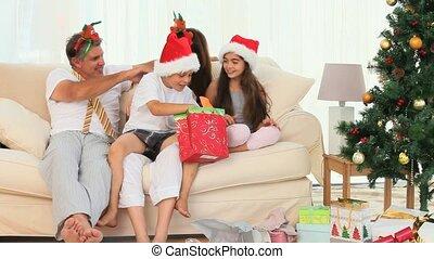 gedurende, kerstmis, gezin