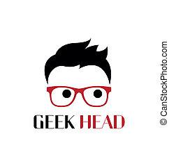geek, logo, hoofd, template.