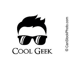 geek, logo, mal, koel