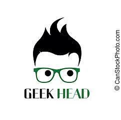 geek, logo, stijl, template.