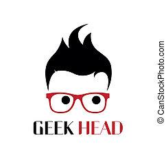 geek, logo, template., koel