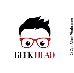 geek, persoon, mal, logo