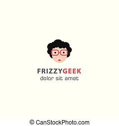 geek, vector, kroes, geek, mal, logo, smile.