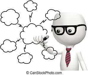 gegevensverwerking, informatietechnologie, smart, programmeur, tekening, wolk, plan