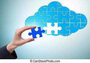 gegevensverwerking, jigsaw, wolk, concept, raadsel