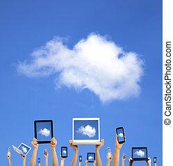 gegevensverwerking, wolk, holdingshanden, smart, tablet, beroeren, concept., telefoon, computer, draagbare computer, blok