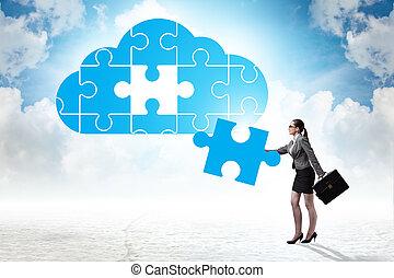 gegevensverwerking, wolk, raadsel, jigsaw, concept
