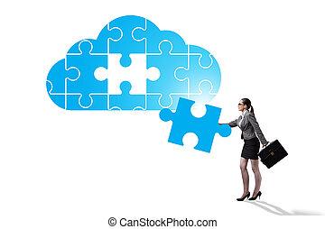 gegevensverwerking, wolk, zoekplaatje, concept