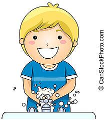 geitje, het wassen hands