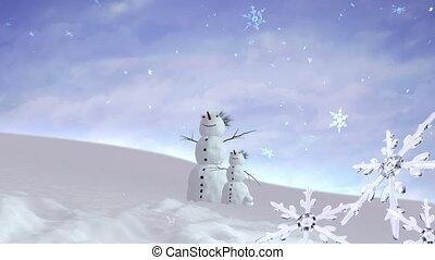 geitje, snowmen, kerstmis, snowflakes